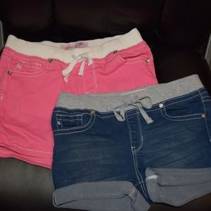 2 Pairs of Seven7 Jean Shorts Pink Blue 16 Elastic